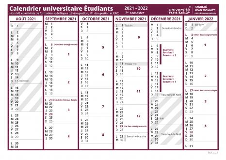 Calendrier Droit De Visite 2022 Calendrier universitaire   Faculté de Droit Economie Gestion